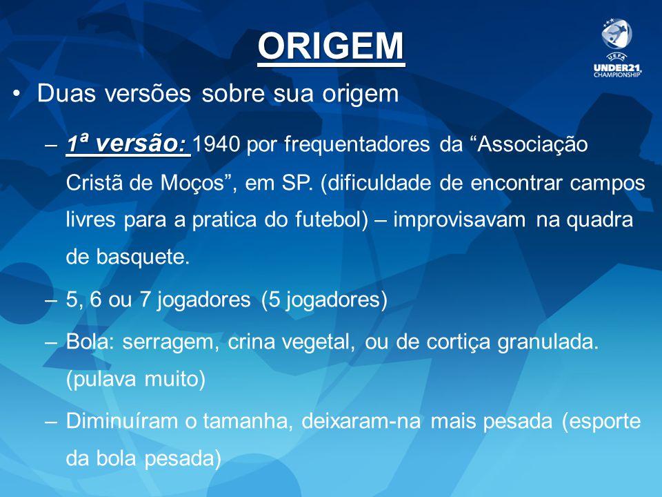 2ª versão – mais aceita Década de 30 no Uruguai (paixão pelo futebol – 1ª conquista da copa do mundo) Juan Carlos Ceriani – elaborou regras novas com adaptações do basquete e handebol.