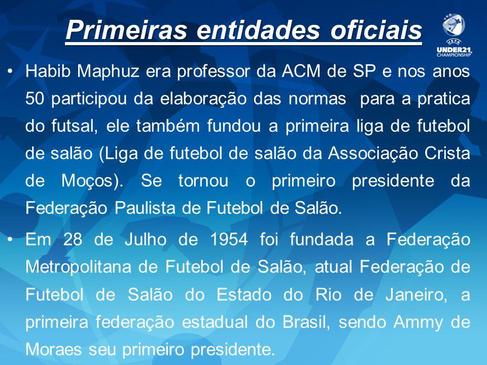 Primeiras entidades oficiais Habib Maphuz era professor da ACM de SP e nos anos 50 participou da elaboração das normas para a pratica do futsal, ele t