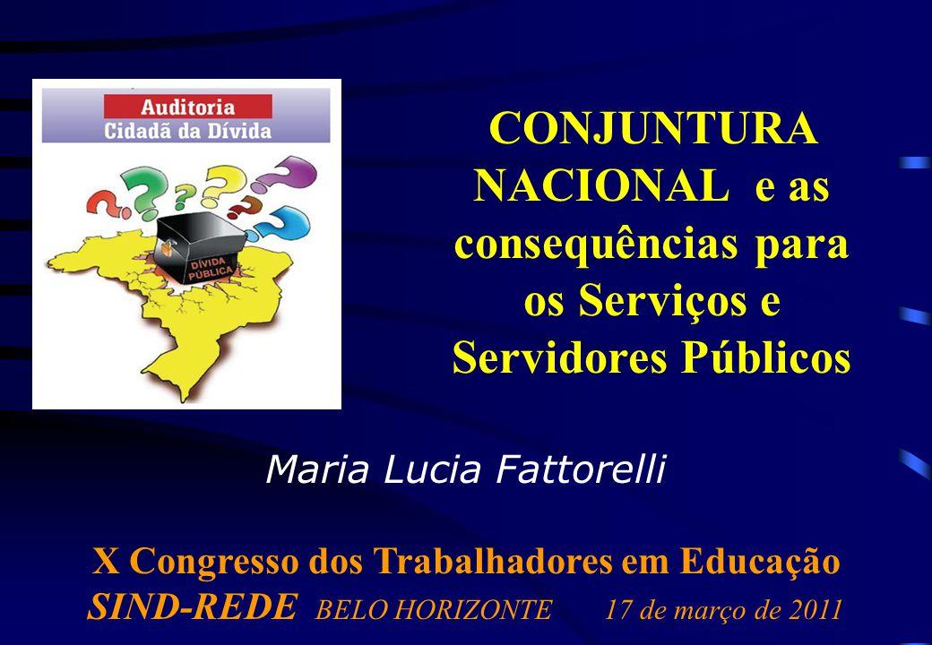 Maria Lucia Fattorelli X Congresso dos Trabalhadores em Educação SIND-REDE BELO HORIZONTE17 de março de 2011 CONJUNTURA NACIONAL e as consequências para os Serviços e Servidores Públicos