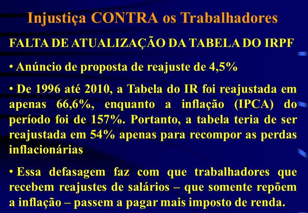 Injustiça CONTRA os Trabalhadores FALTA DE ATUALIZAÇÃO DA TABELA DO IRPF Anúncio de proposta de reajuste de 4,5% De 1996 até 2010, a Tabela do IR foi reajustada em apenas 66,6%, enquanto a inflação (IPCA) do período foi de 157%.