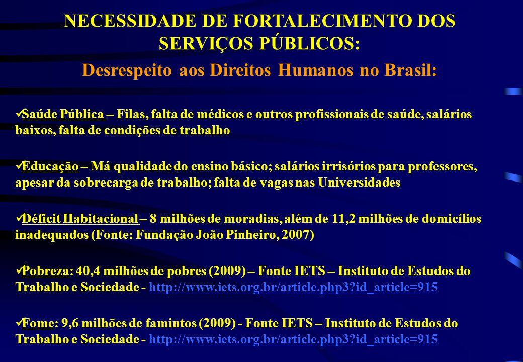 NECESSIDADE DE FORTALECIMENTO DOS SERVIÇOS PÚBLICOS: Desrespeito aos Direitos Humanos no Brasil: Saúde Pública – Filas, falta de médicos e outros prof