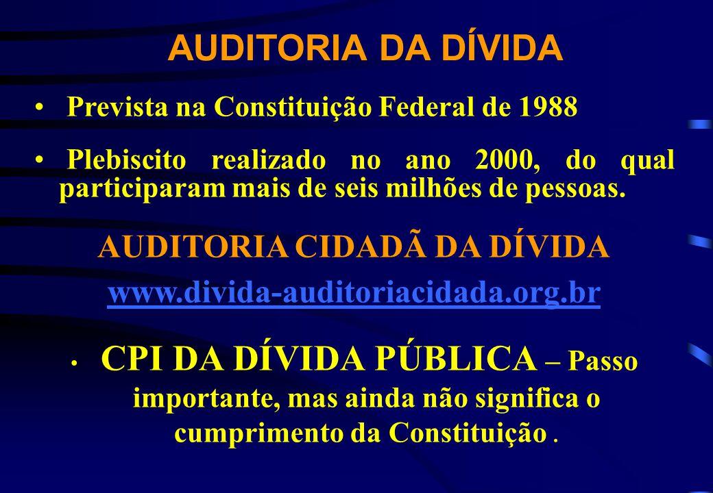 AUDITORIA DA DÍVIDA Prevista na Constituição Federal de 1988 Plebiscito realizado no ano 2000, do qual participaram mais de seis milhões de pessoas. A