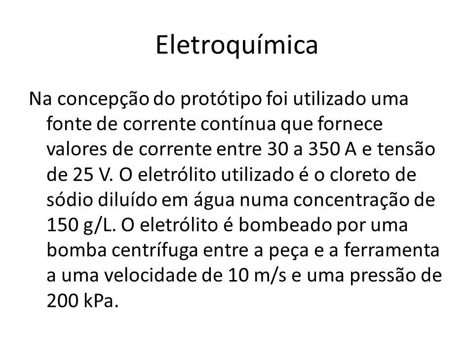 Eletroquímica Na concepção do protótipo foi utilizado uma fonte de corrente contínua que fornece valores de corrente entre 30 a 350 A e tensão de 25 V
