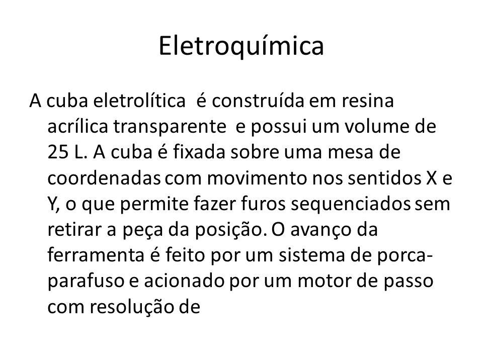 Eletroquímica A cuba eletrolítica é construída em resina acrílica transparente e possui um volume de 25 L. A cuba é fixada sobre uma mesa de coordenad