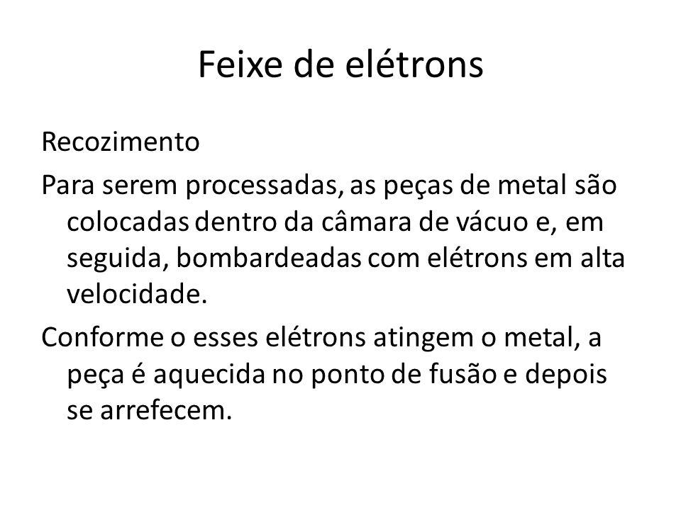 Recozimento Para serem processadas, as peças de metal são colocadas dentro da câmara de vácuo e, em seguida, bombardeadas com elétrons em alta velocid