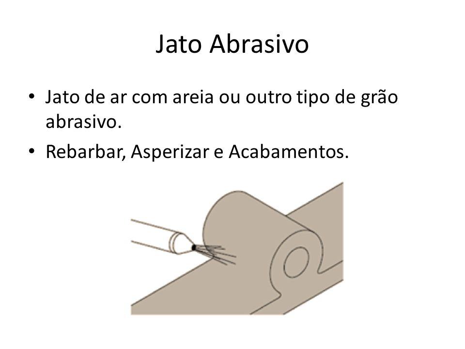 Jato Abrasivo Jato de ar com areia ou outro tipo de grão abrasivo. Rebarbar, Asperizar e Acabamentos.
