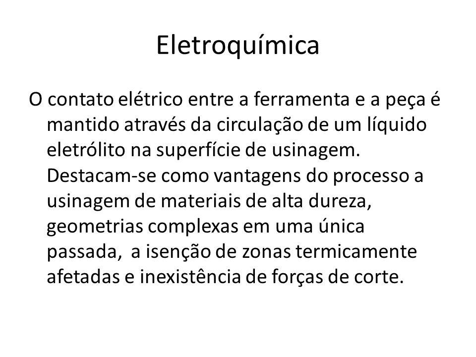Eletroquímica O contato elétrico entre a ferramenta e a peça é mantido através da circulação de um líquido eletrólito na superfície de usinagem. Desta