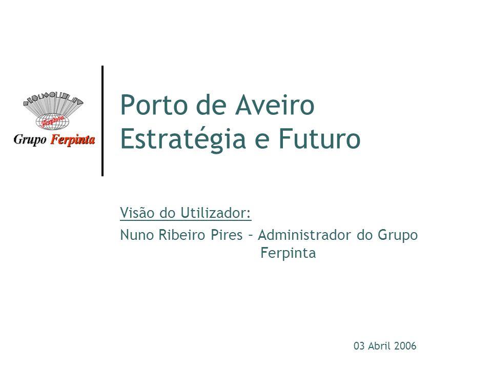 03 Abril 2006 Porto de Aveiro Estratégia e Futuro Visão do Utilizador: Nuno Ribeiro Pires – Administrador do Grupo Ferpinta