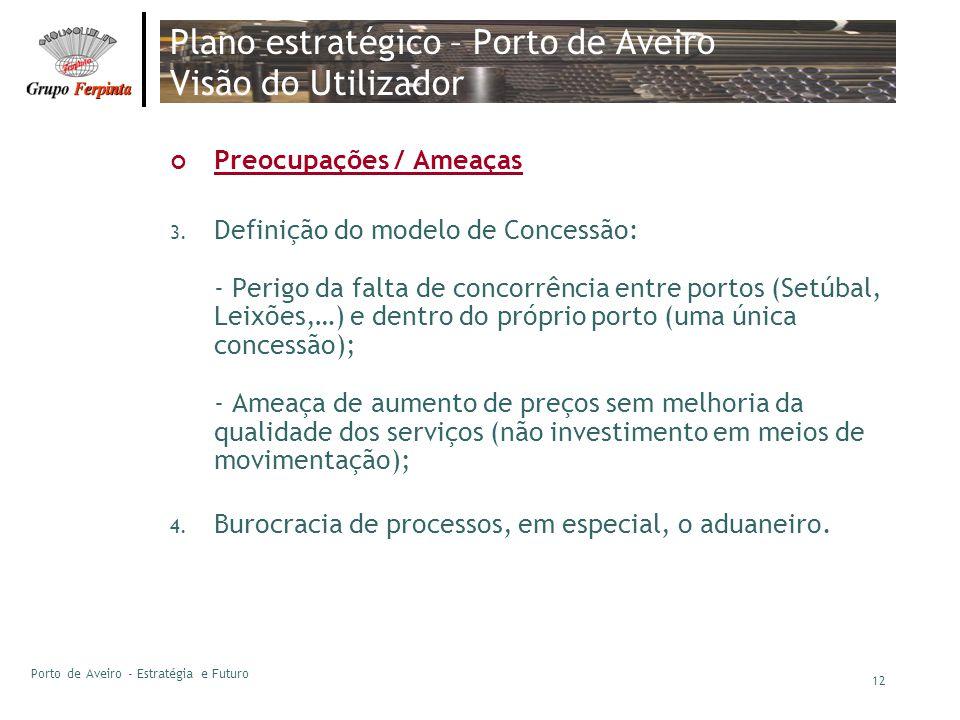 Porto de Aveiro - Estratégia e Futuro 12 Plano estratégico – Porto de Aveiro Visão do Utilizador Preocupações / Ameaças 3. Definição do modelo de Conc