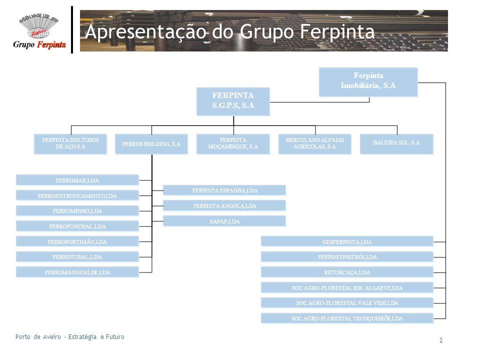 Porto de Aveiro - Estratégia e Futuro 2 Apresentação do Grupo Ferpinta Ferpinta Imobiliária, S.A FERPINTA IND.TUBOS DE AÇO S.A FERROS HOLDING, S.A FER