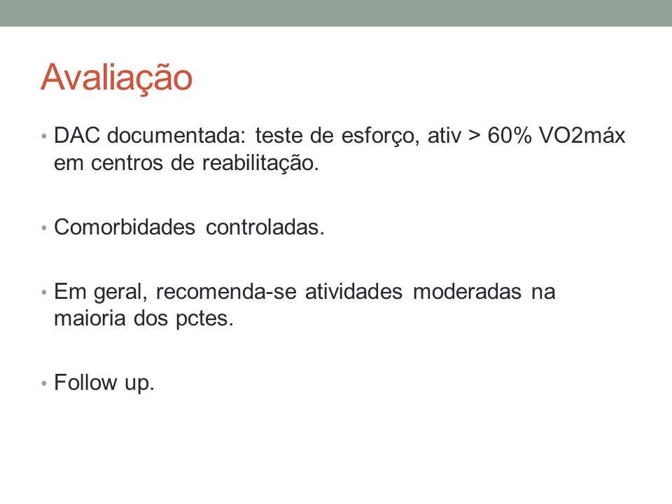 Avaliação DAC documentada: teste de esforço, ativ > 60% VO2máx em centros de reabilitação. Comorbidades controladas. Em geral, recomenda-se atividades