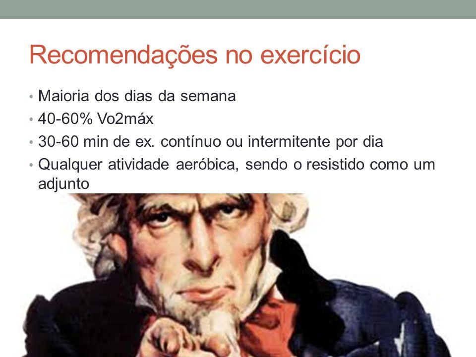 Recomendações no exercício Maioria dos dias da semana 40-60% Vo2máx 30-60 min de ex. contínuo ou intermitente por dia Qualquer atividade aeróbica, sen