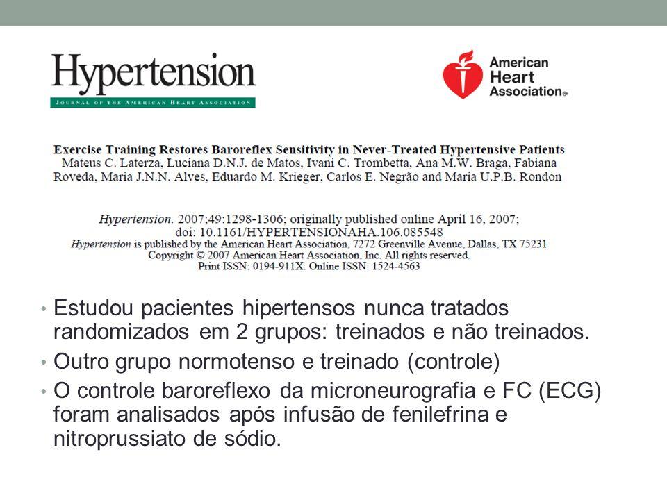 Estudou pacientes hipertensos nunca tratados randomizados em 2 grupos: treinados e não treinados. Outro grupo normotenso e treinado (controle) O contr