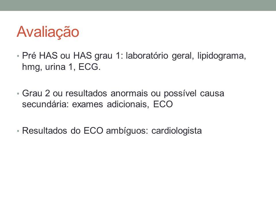 Avaliação Pré HAS ou HAS grau 1: laboratório geral, lipidograma, hmg, urina 1, ECG. Grau 2 ou resultados anormais ou possível causa secundária: exames