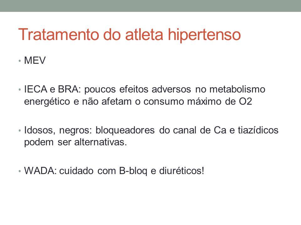 Tratamento do atleta hipertenso MEV IECA e BRA: poucos efeitos adversos no metabolismo energético e não afetam o consumo máximo de O2 Idosos, negros: