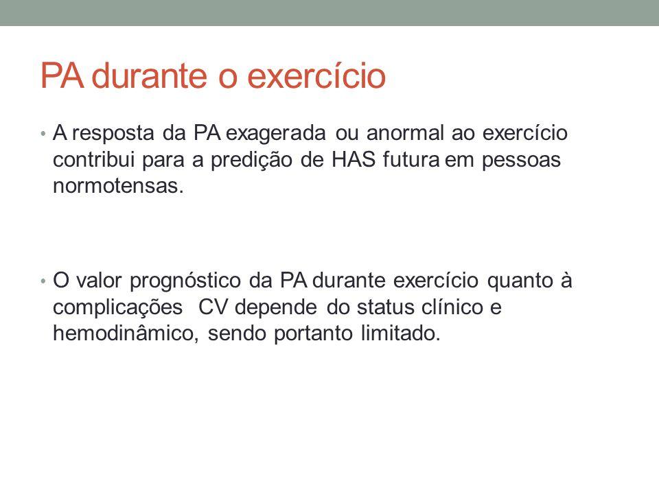 PA durante o exercício A resposta da PA exagerada ou anormal ao exercício contribui para a predição de HAS futura em pessoas normotensas. O valor prog