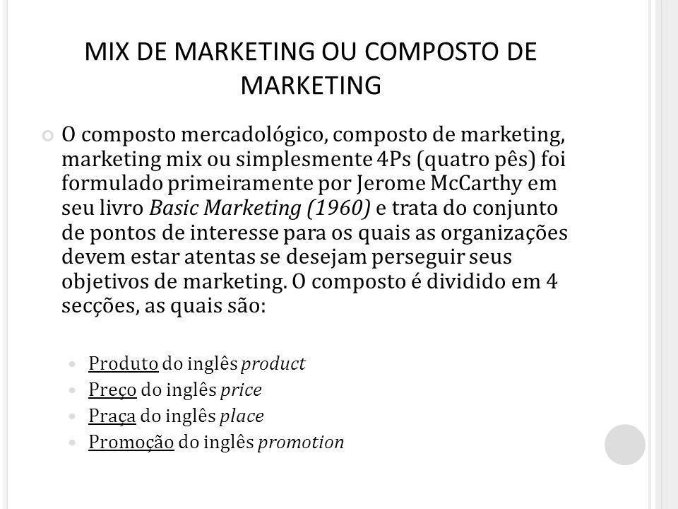 MIX DE MARKETING OU COMPOSTO DE MARKETING O composto mercadológico, composto de marketing, marketing mix ou simplesmente 4Ps (quatro pês) foi formulad