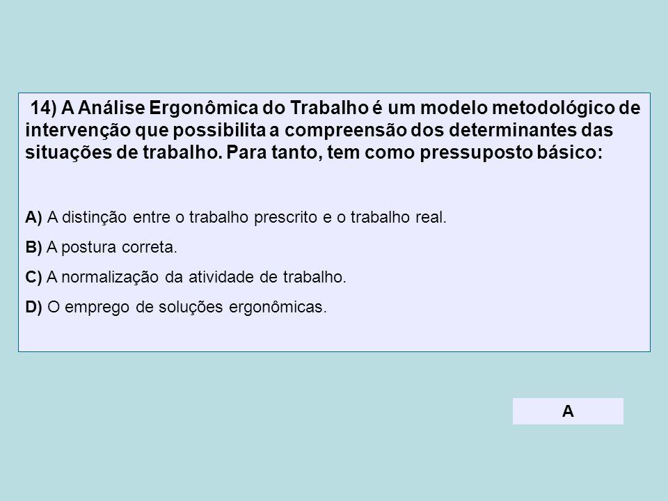14) A Análise Ergonômica do Trabalho é um modelo metodológico de intervenção que possibilita a compreensão dos determinantes das situações de trabalho