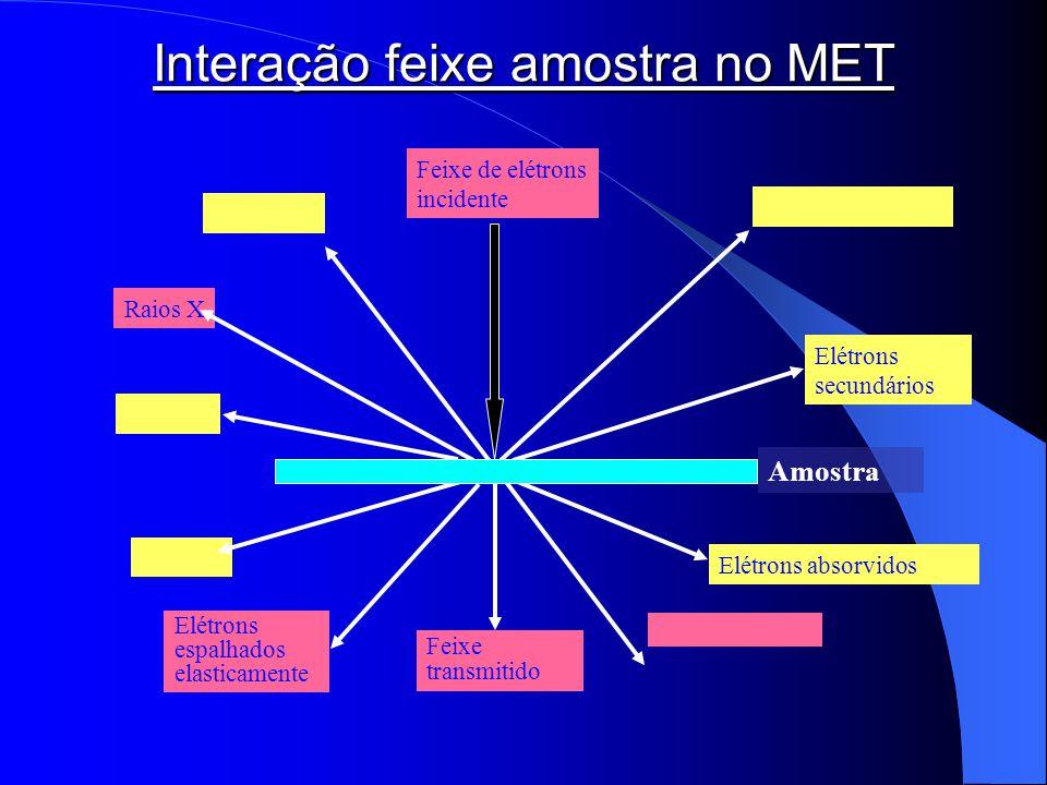 Raios X Feixe transmitido Elétrons espalhados elasticamente Feixe de elétrons incidente Elétrons secundários Elétrons absorvidos Amostra Interação fei