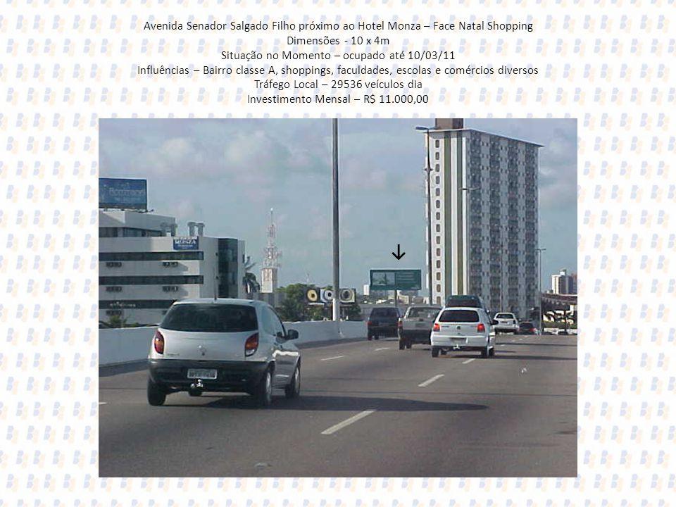 Avenida Senador Salgado Filho próximo ao Hotel Monza – Face Natal Shopping Dimensões - 10 x 4m Situação no Momento – ocupado até 10/03/11 Influências