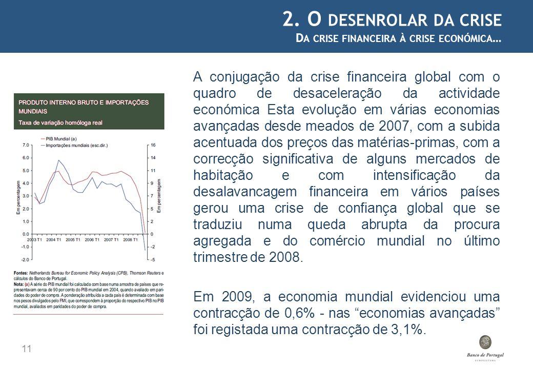 2. O DESENROLAR DA CRISE D A CRISE FINANCEIRA À CRISE ECONÓMICA … 11 A conjugação da crise financeira global com o quadro de desaceleração da activida