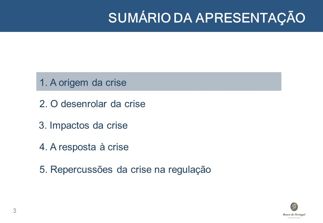 SUMÁRIO DA APRESENTAÇÃO 3 1. A origem da crise 2. O desenrolar da crise 4. A resposta à crise 5. Repercussões da crise na regulação 3. Impactos da cri