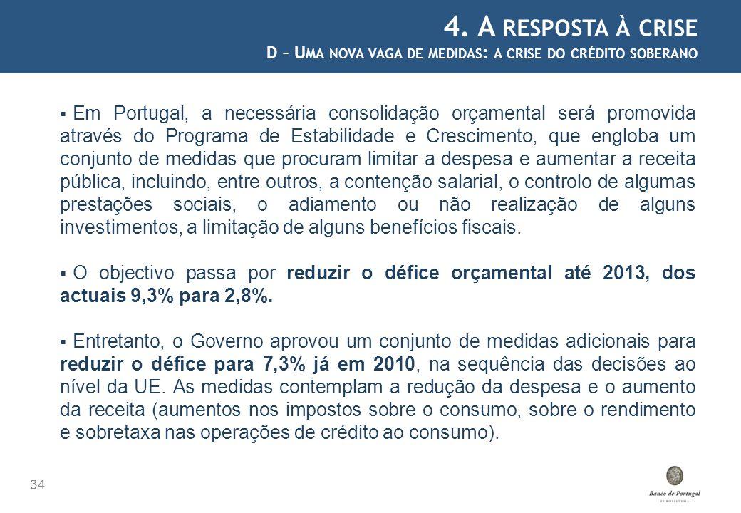 4. A RESPOSTA À CRISE D – U MA NOVA VAGA DE MEDIDAS : A CRISE DO CRÉDITO SOBERANO 34 Em Portugal, a necessária consolidação orçamental será promovida