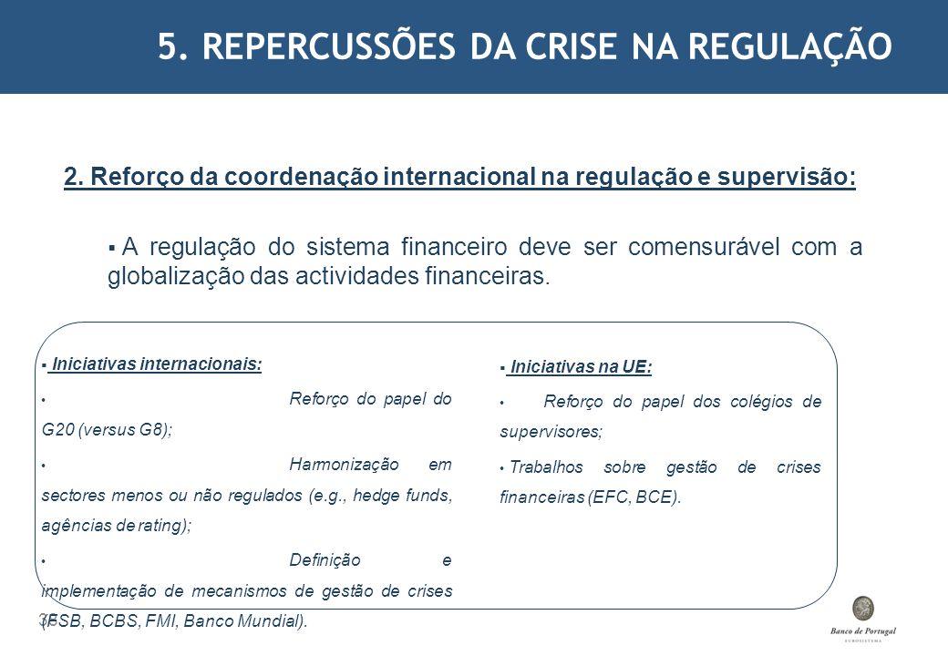 5. REPERCUSSÕES DA CRISE NA REGULAÇÃO 38 2. Reforço da coordenação internacional na regulação e supervisão: A regulação do sistema financeiro deve ser