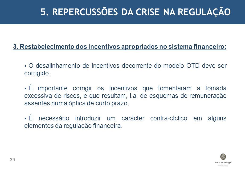 5. REPERCUSSÕES DA CRISE NA REGULAÇÃO 39 3. Restabelecimento dos incentivos apropriados no sistema financeiro: O desalinhamento de incentivos decorren