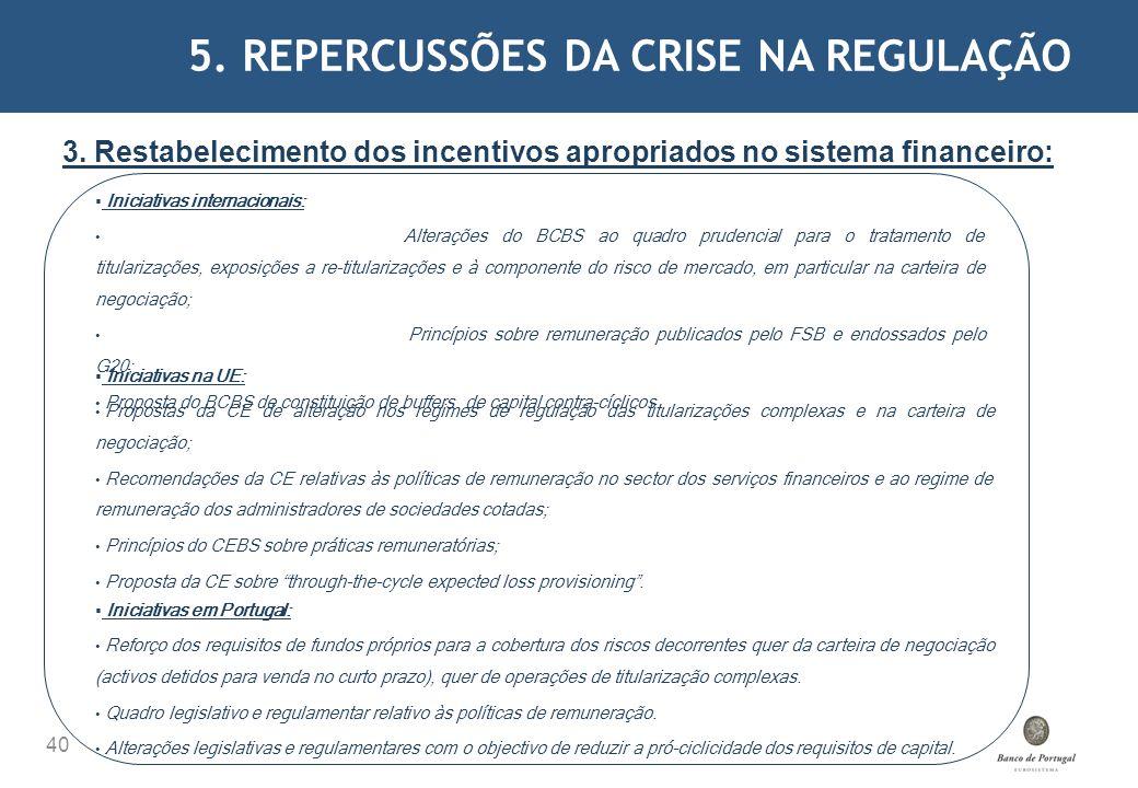 5. REPERCUSSÕES DA CRISE NA REGULAÇÃO 40 3. Restabelecimento dos incentivos apropriados no sistema financeiro: Iniciativas internacionais: Alterações