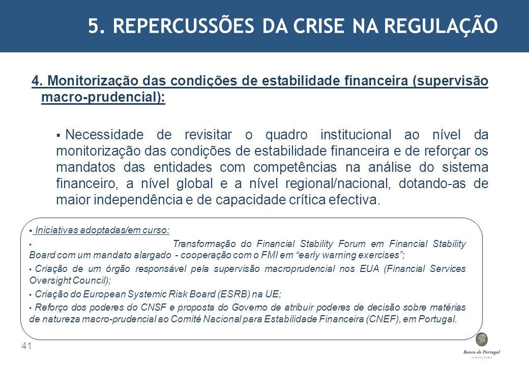 5. REPERCUSSÕES DA CRISE NA REGULAÇÃO 41 4. Monitorização das condições de estabilidade financeira (supervisão macro-prudencial): Necessidade de revis