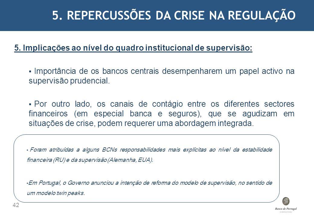 5. REPERCUSSÕES DA CRISE NA REGULAÇÃO 42 5. Implicações ao nível do quadro institucional de supervisão: Importância de os bancos centrais desempenhare
