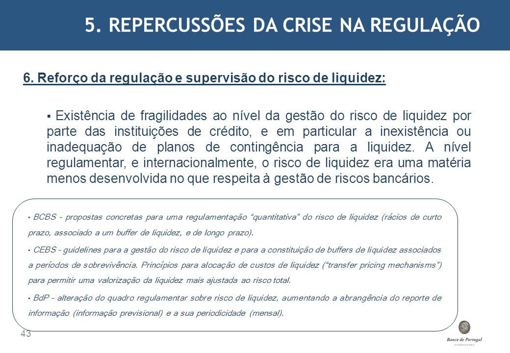 5. REPERCUSSÕES DA CRISE NA REGULAÇÃO 43 6. Reforço da regulação e supervisão do risco de liquidez: Existência de fragilidades ao nível da gestão do r