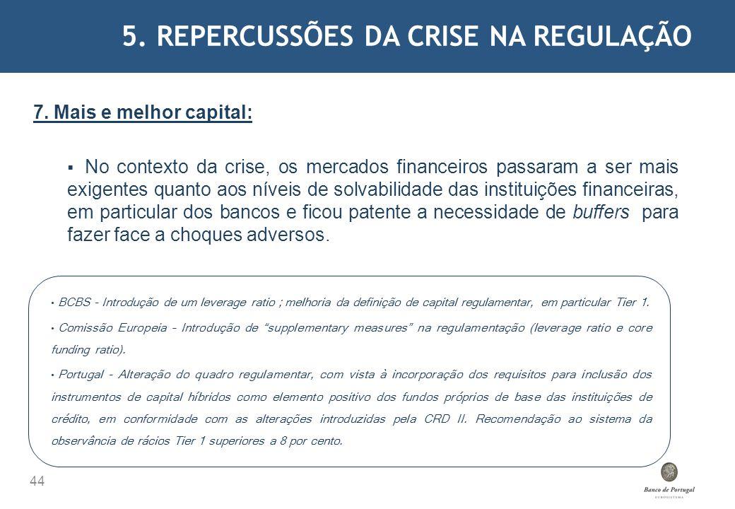 5. REPERCUSSÕES DA CRISE NA REGULAÇÃO 44 7. Mais e melhor capital: No contexto da crise, os mercados financeiros passaram a ser mais exigentes quanto