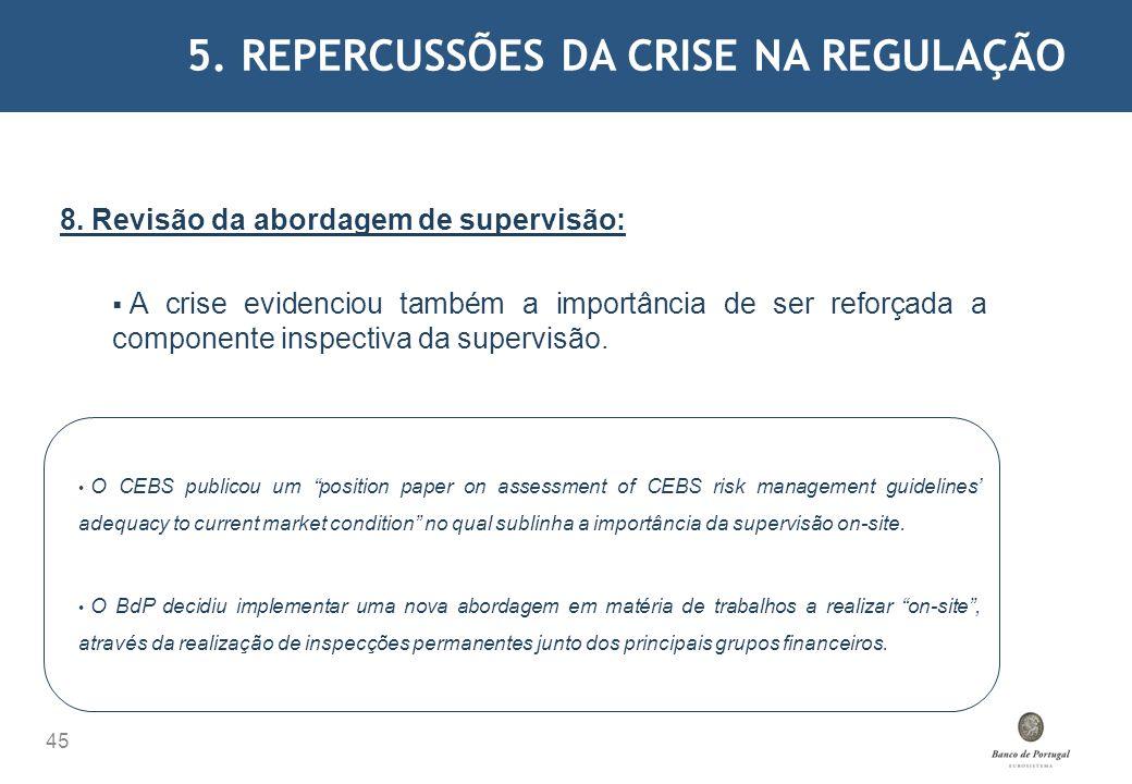 5. REPERCUSSÕES DA CRISE NA REGULAÇÃO 45 8. Revisão da abordagem de supervisão: A crise evidenciou também a importância de ser reforçada a componente