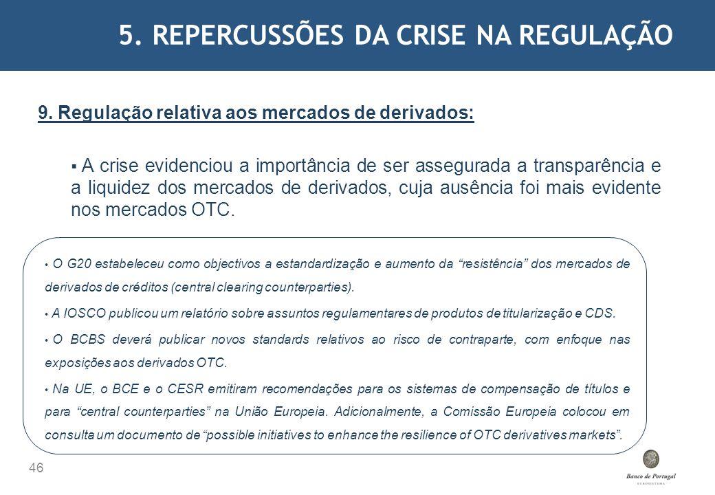 5. REPERCUSSÕES DA CRISE NA REGULAÇÃO 46 9. Regulação relativa aos mercados de derivados: A crise evidenciou a importância de ser assegurada a transpa