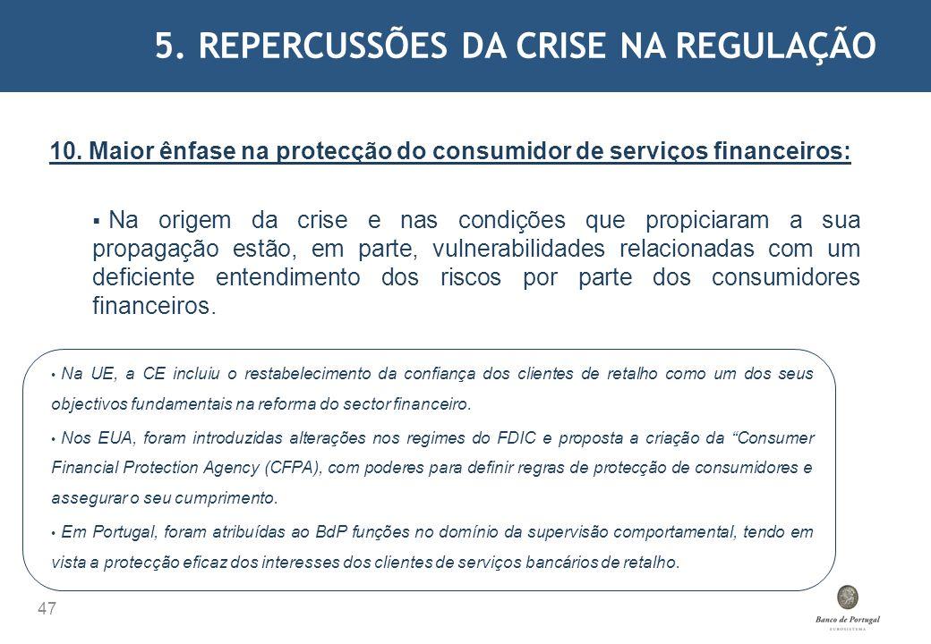 5. REPERCUSSÕES DA CRISE NA REGULAÇÃO 47 10. Maior ênfase na protecção do consumidor de serviços financeiros: Na origem da crise e nas condições que p