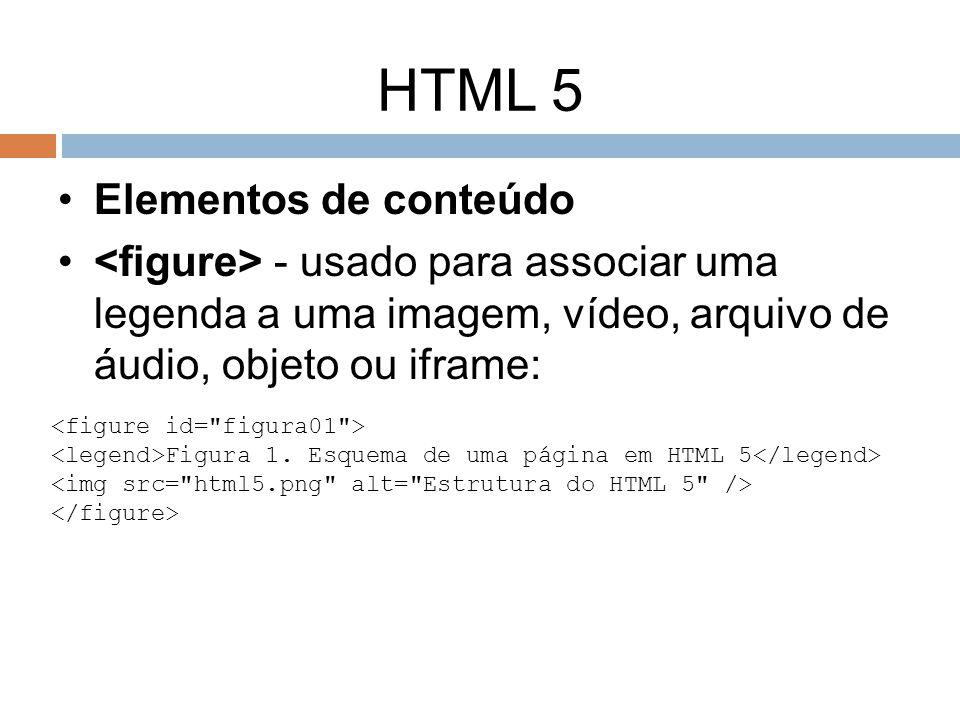 HTML 5 Elementos de conteúdo - usado para associar uma legenda a uma imagem, vídeo, arquivo de áudio, objeto ou iframe: Figura 1. Esquema de uma págin
