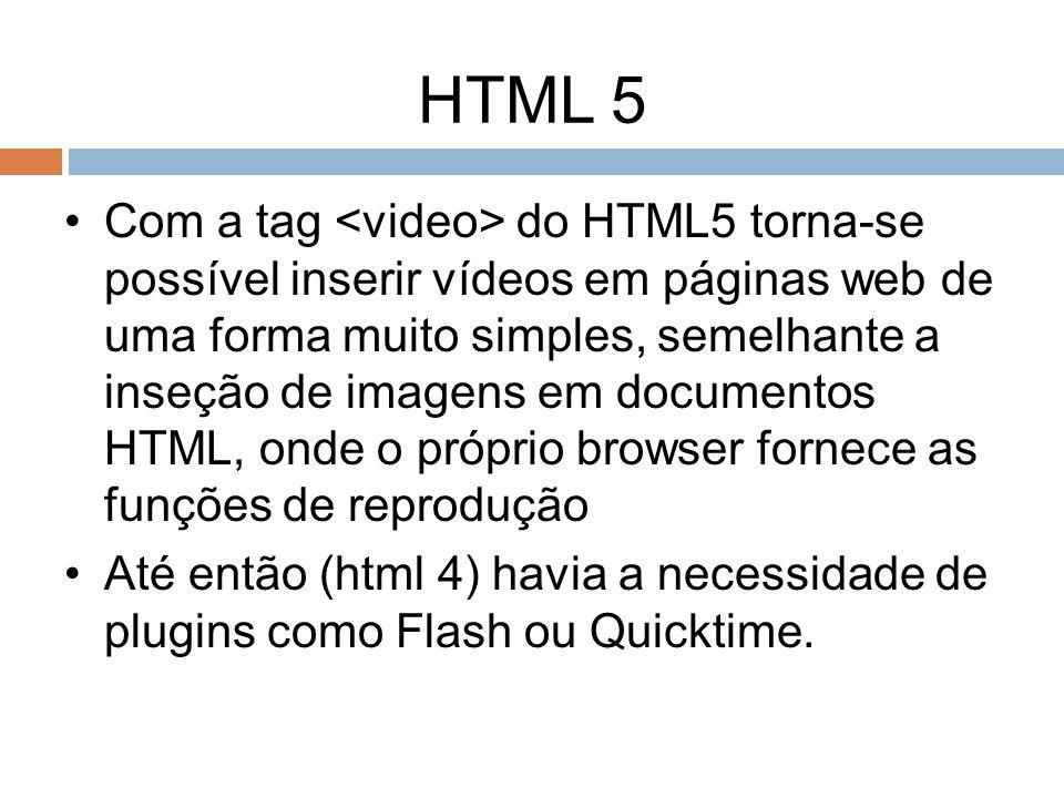 HTML 5 Com a tag do HTML5 torna-se possível inserir vídeos em páginas web de uma forma muito simples, semelhante a inseção de imagens em documentos HT