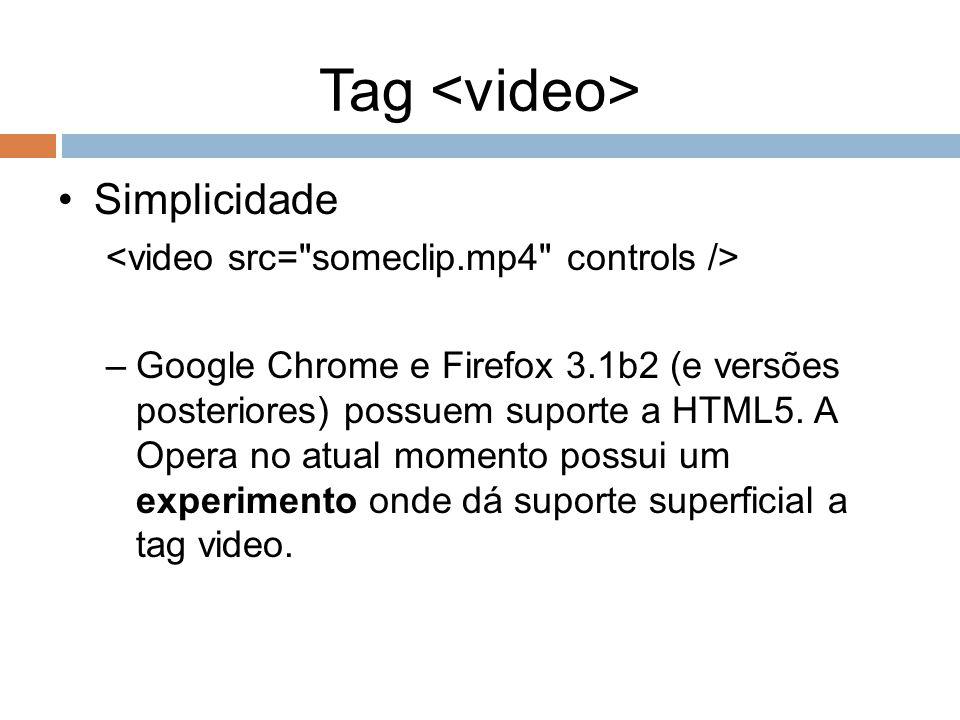Tag Simplicidade –Google Chrome e Firefox 3.1b2 (e versões posteriores) possuem suporte a HTML5. A Opera no atual momento possui um experimento onde d