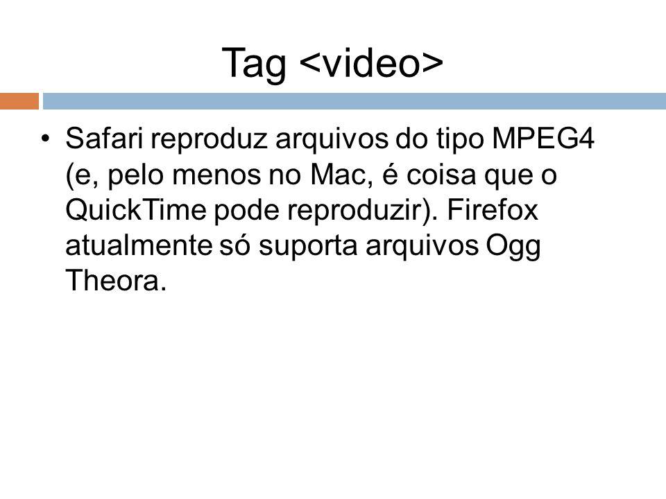 Tag Safari reproduz arquivos do tipo MPEG4 (e, pelo menos no Mac, é coisa que o QuickTime pode reproduzir). Firefox atualmente só suporta arquivos Ogg