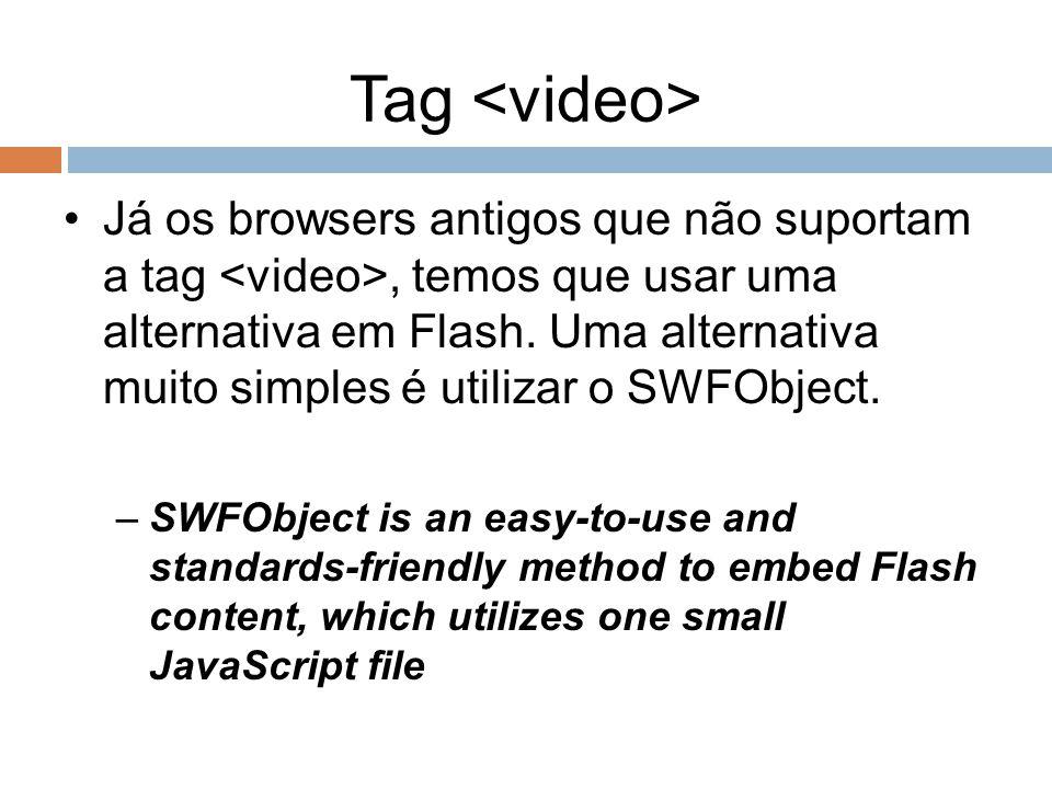 Tag Já os browsers antigos que não suportam a tag, temos que usar uma alternativa em Flash. Uma alternativa muito simples é utilizar o SWFObject. –SWF