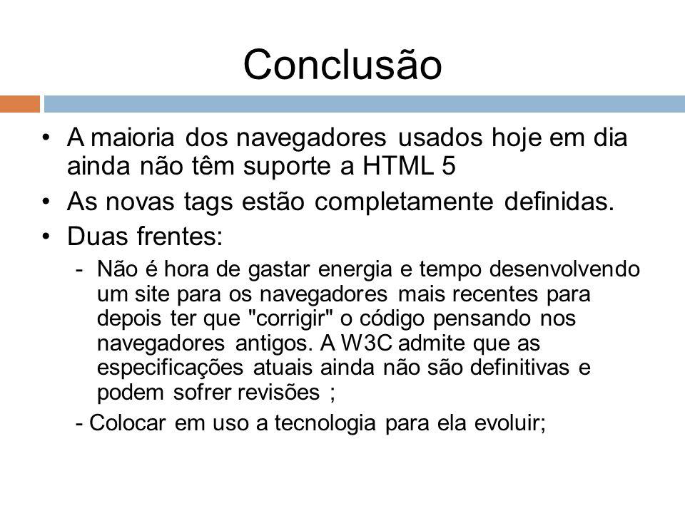 Conclusão A maioria dos navegadores usados hoje em dia ainda não têm suporte a HTML 5 As novas tags estão completamente definidas. Duas frentes: -Não