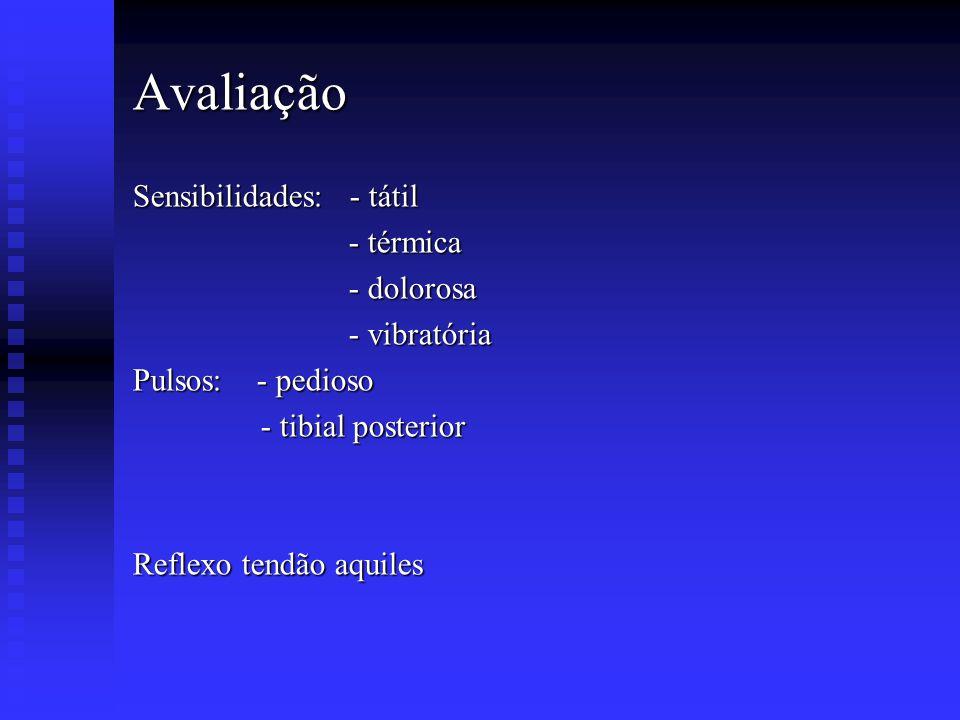 Avaliação Sensibilidades: - tátil - térmica - térmica - dolorosa - dolorosa - vibratória - vibratória Pulsos: - pedioso - tibial posterior - tibial po