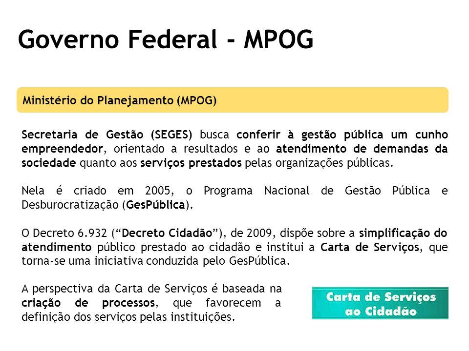 Governo Federal - MPOG Secretaria de Gestão (SEGES) busca conferir à gestão pública um cunho empreendedor, orientado a resultados e ao atendimento de demandas da sociedade quanto aos serviços prestados pelas organizações públicas.