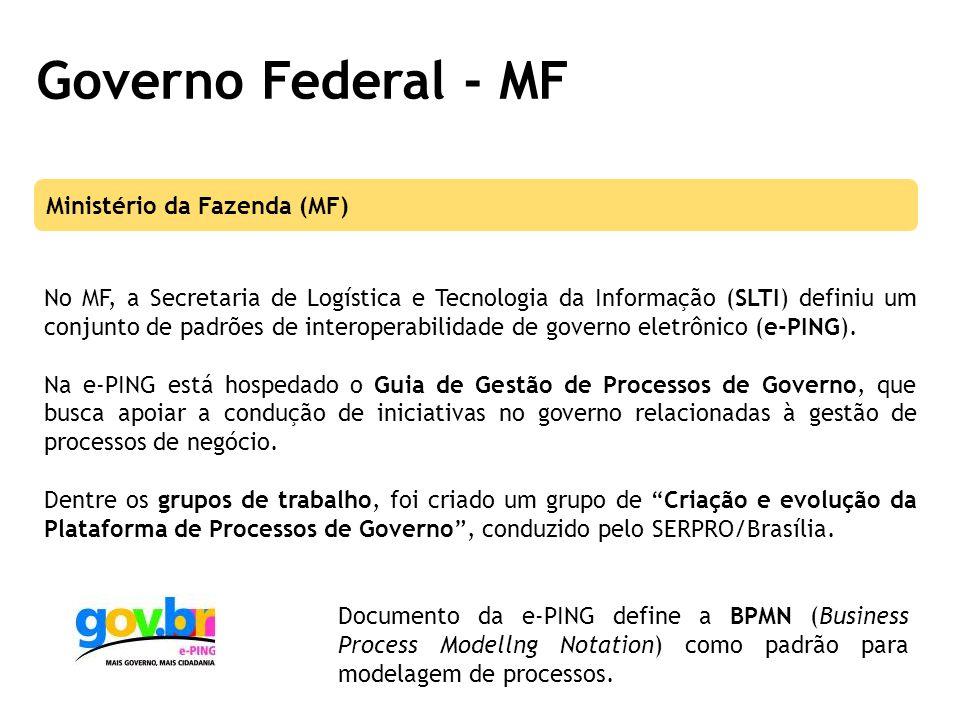 Governo Federal - MF No MF, a Secretaria de Logística e Tecnologia da Informação (SLTI) definiu um conjunto de padrões de interoperabilidade de governo eletrônico (e-PING).
