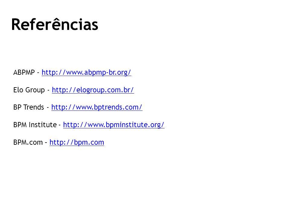 ABPMP - http://www.abpmp-br.org/http://www.abpmp-br.org/ Elo Group - http://elogroup.com.br/http://elogroup.com.br/ BP Trends - http://www.bptrends.com/http://www.bptrends.com/ BPM Institute - http://www.bpminstitute.org/http://www.bpminstitute.org/ BPM.com – http://bpm.comhttp://bpm.com