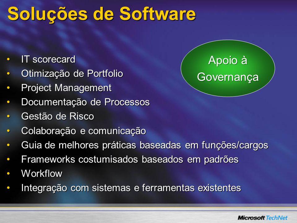 Soluções de Software IT scorecardIT scorecard Otimização de PortfolioOtimização de Portfolio Project ManagementProject Management Documentação de ProcessosDocumentação de Processos Gestão de RiscoGestão de Risco Colaboração e comunicaçãoColaboração e comunicação Guia de melhores práticas baseadas em funções/cargosGuia de melhores práticas baseadas em funções/cargos Frameworks costumisados baseados em padrõesFrameworks costumisados baseados em padrões WorkflowWorkflow Integração com sistemas e ferramentas existentesIntegração com sistemas e ferramentas existentes Apoio à Governança