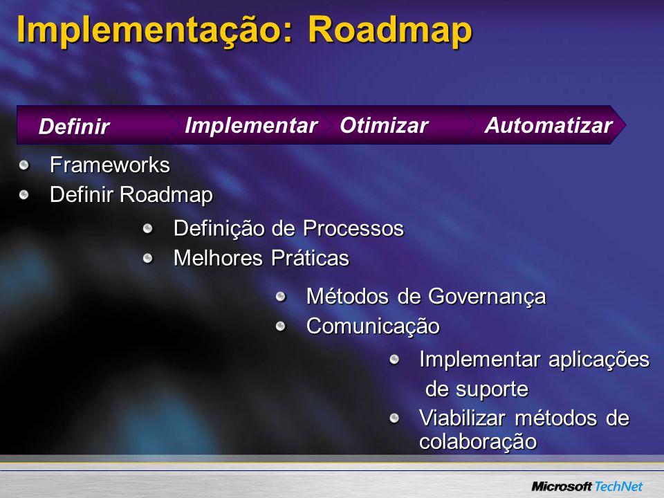 AutomatizarOtimizarImplementar Implementação: Roadmap Definir Definição de Processos Melhores Práticas Métodos de Governança Comunicação Implementar aplicações de suporte de suporte Viabilizar métodos de colaboração Frameworks Definir Roadmap