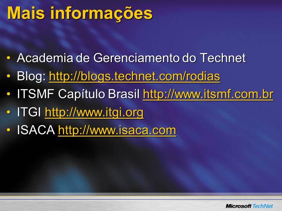 Mais informações Academia de Gerenciamento do TechnetAcademia de Gerenciamento do Technet Blog: http://blogs.technet.com/rodiasBlog: http://blogs.technet.com/rodiashttp://blogs.technet.com/rodias ITSMF Capítulo Brasil http://www.itsmf.com.brITSMF Capítulo Brasil http://www.itsmf.com.brhttp://www.itsmf.com.br ITGI http://www.itgi.orgITGI http://www.itgi.orghttp://www.itgi.org ISACA http://www.isaca.comISACA http://www.isaca.comhttp://www.isaca.com